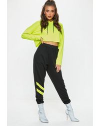 Missguided - Black Reflective Detail Stripe Joggers - Lyst
