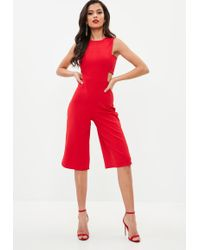 Missguided - Red Side Tab Culotte Jumpsuit - Lyst