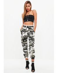 Missguided - Petite Grey Camo Combat Trousers - Lyst