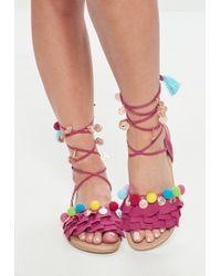 Missguided - Pink Pom Pom Frill Flat Sandal - Lyst