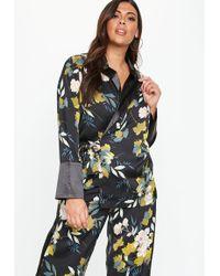 Missguided - Plus Size Floral Contrast Collar Tie Waist Blazer - Lyst