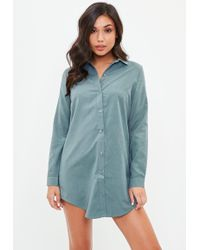 Missguided - Grey Peached Soft Touch Shirt - Lyst