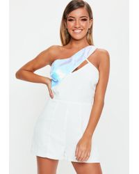 27e019c6fb17 Lyst - Missguided White High Neck Asymmetric Playsuit in White