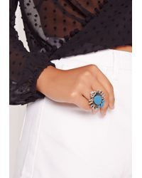 Missguided - Turquoise Stone Statement Ring - Lyst