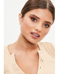 Missguided - Gold Look Simple Choker - Lyst
