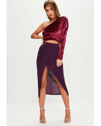 Missguided - Purple Slinky Midi Skirt - Lyst