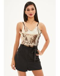 Missguided - Black Paper Bag Tailored High Waist Shorts - Lyst