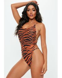 929a3013be Missguided Nude Animal Print Scoop Neck Extreme Cut Out Swimsuit - Lyst
