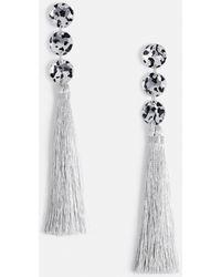 Missguided - Leopard Stone Silver Fabric Tassel Earring - Lyst