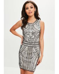 Missguided - Silver Sequin Beaded Mini Dress - Lyst