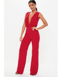 61cbc9686f5 Lyst - Missguided Green Stripe Plunge Front Wide Leg Satin Jumpsuit ...