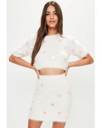 79f0f8cb4 Missguided - Cream Sequin Detail Fluffy Cropped Skirt - Lyst