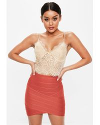 Missguided - Petite Nude Lace Slip Top - Lyst