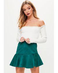 b7b7d066c8 Missguided - Blue Faux Suede Asymmetric Hem Mini Skirt - Lyst