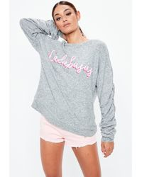 Missguided - Gray Calabasas Graphic Brushed Sweatshirt - Lyst