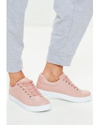 Missguided - Blush Solid Colour Lace Up Trainers - Lyst