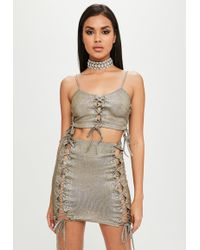 Missguided - Carli Bybel X Gold Glitter Crop Top - Lyst
