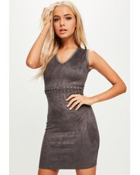 Missguided - Grey Lace Up Waist Faux Suede Dress - Lyst