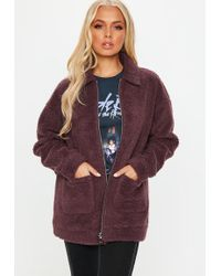 Missguided - Burgundy Oversized Borg Zip Through Jacket - Lyst