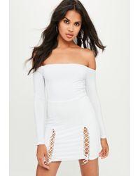 Missguided - White Slinky Bardot Mini Dress - Lyst