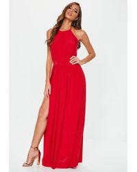 Missguided - Red Slinky Halterneck Maxi Dress - Lyst