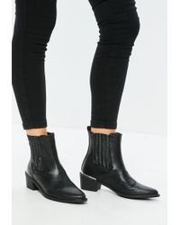 Missguided - Black Snake Pattern Detail Cowboy Chelsea Boots - Lyst
