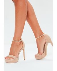 c4f4ed0da503 Missguided - Nude Faux Suede Simple Strap Platform Heeled Sandals - Lyst