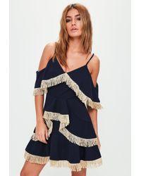 Missguided - Navy Tassel Ruffle Skater Dress - Lyst