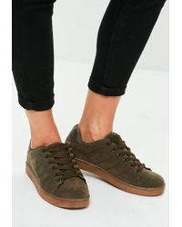 Missguided - Khaki Faux Suede Contrasting Sole Trainers - Lyst