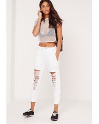 Missguided - Extreme Distressed Knee Joggers White - Lyst