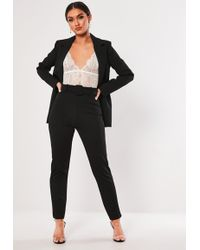 Missguided - Black Stretch Crepe Belted Cigarette Trousers - Lyst
