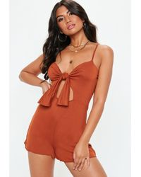 Missguided - Rust Tie Front Strappy Jersey Romper - Lyst