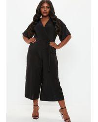 Missguided - Plus Size Black Wrap Over Wide Leg Jumpsuit - Lyst
