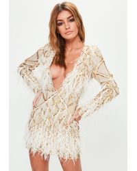 Missguided - Do Not Enable Yet - See Email - Gold Embellished Dress - Lyst