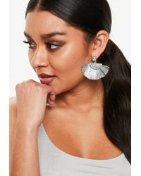 Missguided - Silver Fan Tassel Earrings - Lyst