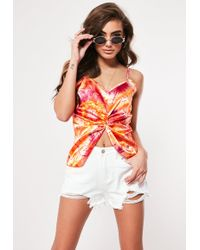 570ad3d06d14d Missguided - Orange Tie Dye Satin Twist Front Cami Top - Lyst