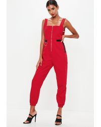 Missguided - Red Backless Utility Dungaree Jumpsuit - Lyst