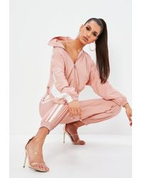 Missguided - Petite Pink Shell Suit Double Side Stripe Trousers - Lyst
