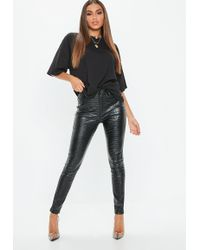 Missguided - Black Faux Leather Croc Print Trousers - Lyst