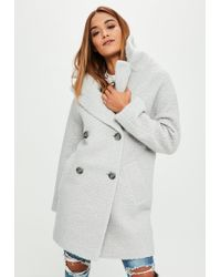Missguided - Grey Oversized Boucle Coat - Lyst