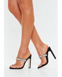 ec69bad90cee Missguided Clara Glitter Strappy Heeled Sandals Black in Black - Lyst