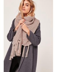 Missguided - Chunky Knit Tassel Scarf Nude - Lyst