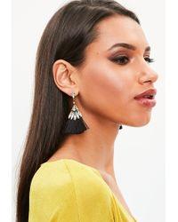 Missguided - Black Crystal Tassel Earrings - Lyst