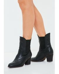 Missguided - Black Snake Pattern Detail Cowboy Boots - Lyst