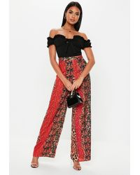 Missguided - Red Animal Floral Wide Leg Trousers - Lyst