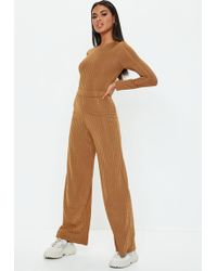 Missguided - Rust Shiny Ribbed Wide Leg Trousers - Lyst