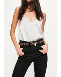 Missguided - Black Embroidered Belt - Lyst
