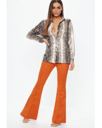 Missguided - Orange Suede Pin Tuck Flare Trousers - Lyst