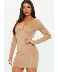 Missguided - Camel Bandage Plunge Mini Dress - Lyst