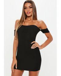 Missguided - Black Bardot Dress - Lyst